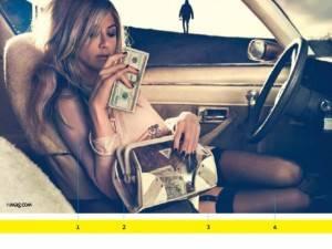 Девушка в машине с деньгами